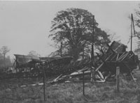 Wreckage of tower in North Park after fire of 1927.